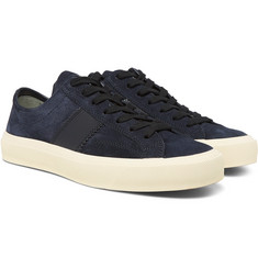 TOM FORD - Leather-Trimmed Suede Sneakers