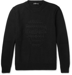 Alexander McQueen Skull-Embroidered Wool and Cashmere-Blend Sweater