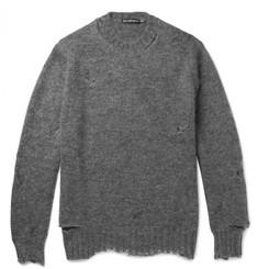 Alexander McQueen Distressed Mohair and Silk-Blend Sweater