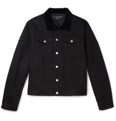Alexander McQueen Velvet-Trimmed Distressed Denim Jacket