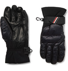 Moncler Grenoble Panelled Leather and Quilted-Shell Down Ski Gloves