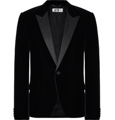 Saint Laurent Black Slim-Fit Satin-Trimmed Velvet Blazer