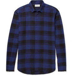 Saint Laurent Distressed Checked Brushed Cotton Shirt