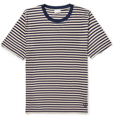 Saint Laurent Striped Slub Silk-Blend Jersey T-Shirt