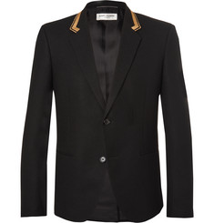 Saint Laurent Slim-Fit Metallic-Trimmed Wool Blazer