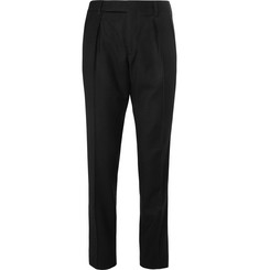 Saint Laurent - Slim-Fit Contrast-Trimmed Brushed Wool-Twill Trousers