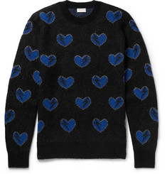 Saint Laurent - Heart-Intarsia Mohair-Blend Sweater