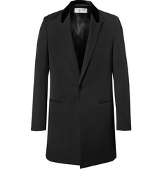 Saint Laurent Slim-Fit Velvet-Trimmed Wool-Gabardine Coat