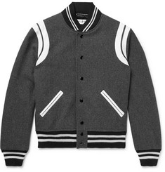 Saint Laurent - Leather-Trimmed Wool-Blend Bomber Jacket