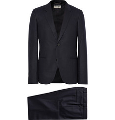 Saint Laurent - Midnight-Blue Slim-Fit Pinstriped Wool-Flannel Suit