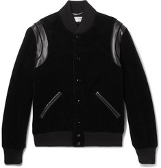 Saint Laurent Leather-Trimmed Cotton-Corduroy Bomber Jacket