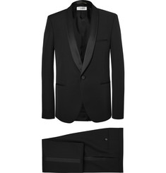 Saint Laurent Black Slim-Fit Satin-Trimmed Wool Tuxedo