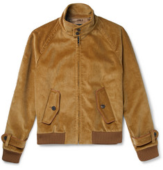 Prada - Leather-Trimmed Cotton-Corduroy Jacket