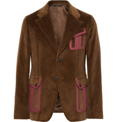 Prada Slim-Fit Leather-Trimmed Cotton-Corduroy Suit Jacket