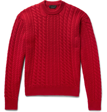 Cable Knit Virgin Wool Sweater by Prada
