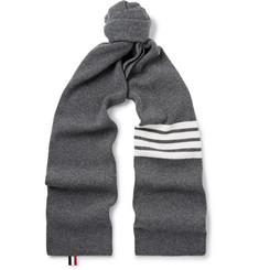 Thom Browne - Striped Ribbed Wool Scarf