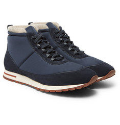 Loro Piana - Voyager Weekend Walk Cashmere-Lined Suede and Neoprene High-Top Sneakers