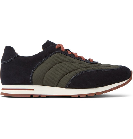 Loro Piana Weekend Walk Suede And Textured-shell Sneakers In Navy