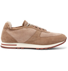 Loro Piana Winter Weekend Walk Shearling-Lined Suede Sneakers