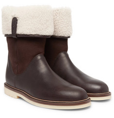 Loro Piana Snow Walk Shearling-Lined Leather And Suede Boots
