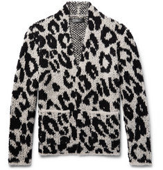 AMIRI Snow Leopard Bouclé-Knit Wool-Blend Cardigan