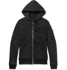 AMIRI Shotgun Slim-Fit Distressed Loopback Cotton-Jersey Zip-Up Hoodie
