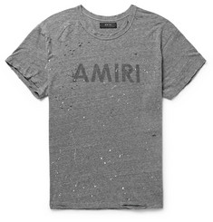 AMIRI Distressed Printed Mélange Jersey T-Shirt