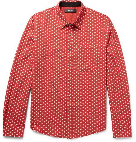 Amiri Slim-fit Polka-dot Cotton And Cashmere-blend Shirt In Brick