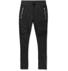 AMIRI MX1 Tapered Leather-Trimmed Distressed Cotton-Jersey Biker Sweatpants