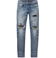 AMIRI - MX1 Skinny-Fit Leather-Panelled Distressed Stretch-Denim Jeans