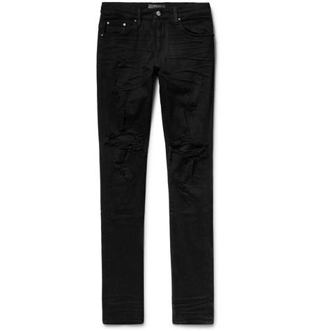 Thrasher Skinny-fit Distressed Stretch-denim Jeans Amiri XUdx6hpc3