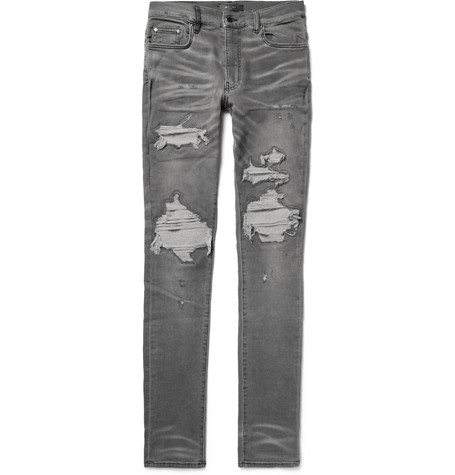 Amiri Skinny-Fit Wool And Cashmere-Blend Panelled Distressed Stretch-Denim Jeans In Anthracite