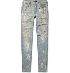 AMIRI Skinny-Fit Paint-Splattered Distressed Stretch-Denim Jeans