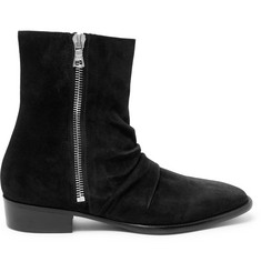 AMIRI Skinny Stack Ruched Suede Boots
