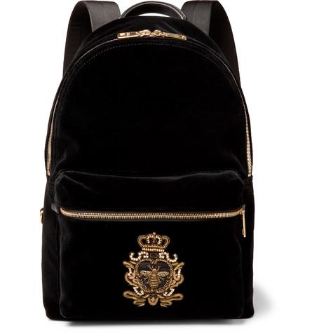 Dolce & Gabbana Embroidered Beaded Velvet Backpack In Black