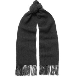 Dolce & Gabbana Fringed Ribbed Cashmere Scarf
