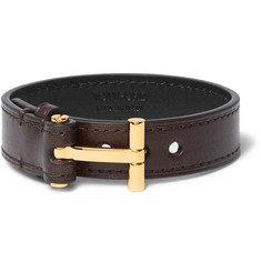 TOM FORD - Leather Gold-Tone Bracelet