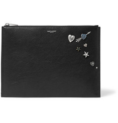 Saint Laurent - Embellished Textured-Leather Pouch