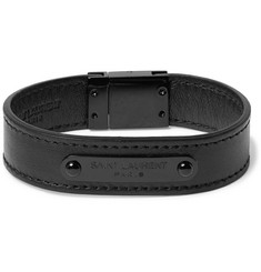 Saint Laurent Black Metal Leather Bracelet