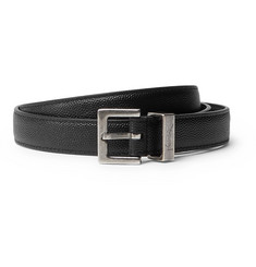 Saint Laurent 2cm Black Pebble-Grain Leather Belt