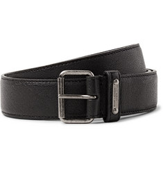 Saint Laurent 3cm Black Pebble-Grain Leather Belt