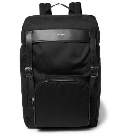 Moon Leather-trimmed Canvas Backpack - Black