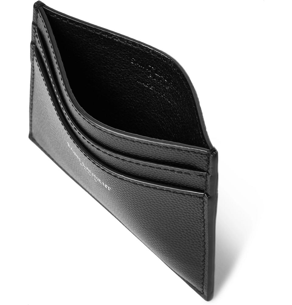 Saint Laurent Pebble-Grain Leather Cardholder