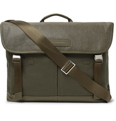 WANT LES ESSENTIELS Jackson Leather-Trimmed Waxed Cotton-Canvas Messenger Bag