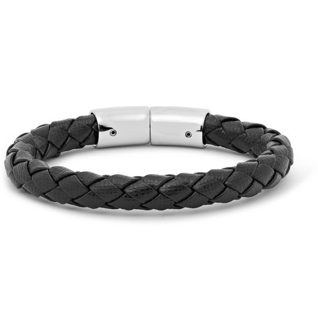 a98fdb0880040 Prada Woven Saffiano Leather Bracelet In Black