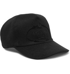 Prada - Leather-Trimmed Embroidered Wool-Felt Baseball Cap