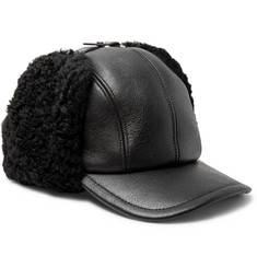 Prada Shearling-Trimmed Leather Cap