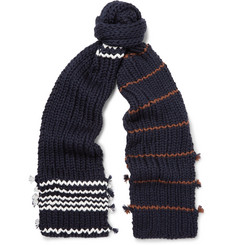 Prada Striped Virgin Wool Scarf