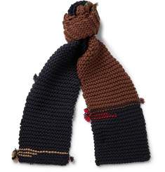 Prada Panelled Ribbed Virgin Wool Scarf