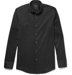 Hugo Boss - Black Jason Slim-Fit Cutaway-Collar Stretch Cotton-Blend Shirt
